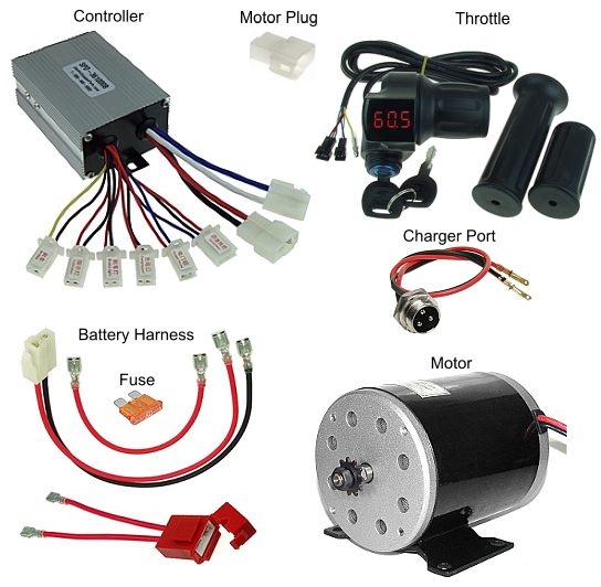 36 Volt Throttle, Controller, Motor, Battery Pack Wiring Harness, and  Charger Port Kit #KIT-361000-TC03 | Battery Wiring Harness |  | ElectricScooterParts.com