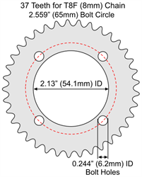 37 Tooth Aluminum Sprocket for T8F (8mm) Chain with F4 Mounting Pattern