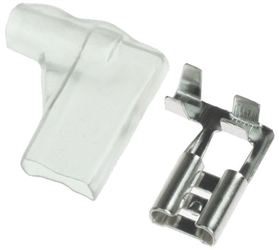 "1/4"" Tab Terminal Female Flag Connector with Clear Sleeve for 22-16 Gauge Wire"